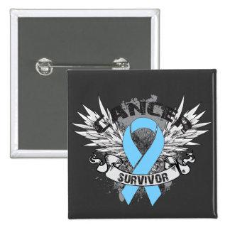 Grunge Winged Ribbon Prostate Cancer Survivor Buttons
