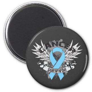 Grunge Winged Ribbon Prostate Cancer Survivor Fridge Magnet
