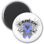Grunge Winged Ribbon Stomach Cancer Survivor Magnets