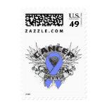 Grunge Winged Ribbon Stomach Cancer Survivor Postage Stamp