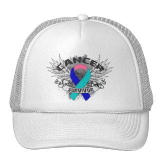 Grunge Winged Ribbon Thyroid Cancer Survivor Trucker Hat