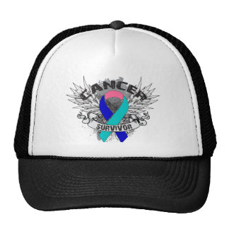 Grunge Winged Ribbon Thyroid Cancer Survivor Hat