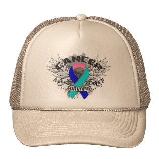 Grunge Winged Ribbon Thyroid Cancer Survivor Trucker Hats