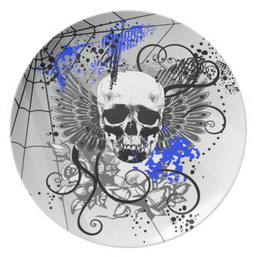 Grunge Winged Skull Spiderweb Party indigo Plate