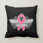 Grunge Wings - Breast Cancer Survivor Throw Pillow