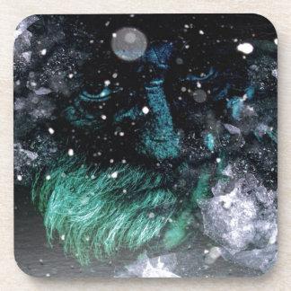 Grunge winter santa claus grumpy Old man Coaster