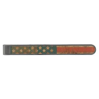 Grunge Wooden Patriotic American Flag Gunmetal Finish Tie Clip