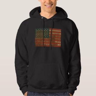 Grunge Wooden Patriotic American Flag Hoodie