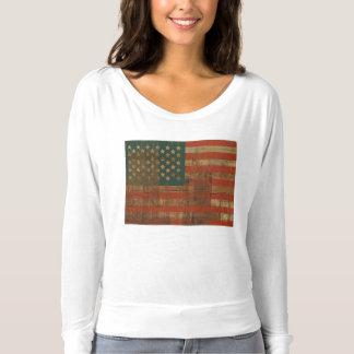 Grunge Wooden Patriotic American Flag T-shirt