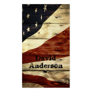 Grunge woodgrain USA American Flag Patriotic Double-Sided Standard Business Cards (Pack Of 100)
