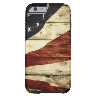 Grunge woodgrain USA American Flag Patriotic Tough iPhone 6 Case