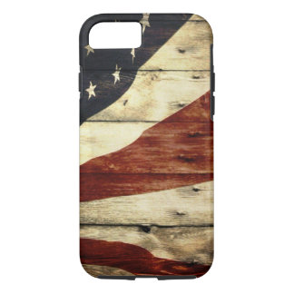 Grunge woodgrain USA American Flag Patriotic iPhone 7 Case
