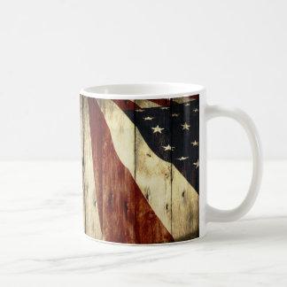 Grunge woodgrain USA American Flag Patriotic Coffee Mug