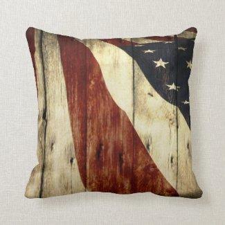 Grunge woodgrain USA American Flag Patriotic Pillows