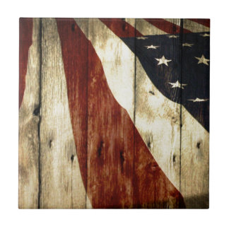 Grunge woodgrain USA American Flag Patriotic Small Square Tile