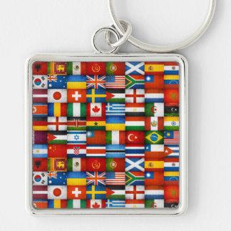 Grunge World Flags Collage Design Keychain