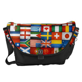 Grunge World Flags Collage Design Messenger Bags