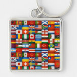 Grunge World Flags Collage Design Silver-Colored Square Keychain