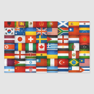 Grunge World Flags Collage Design Rectangle Stickers