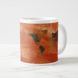 Grunge World Map on Faux Leather Jumbo Soup Mug Jumbo Mugs