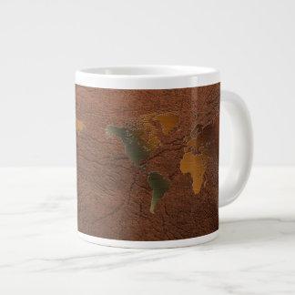 Grunge World Map on Faux Leather Jumbo Soup Mug Extra Large Mug