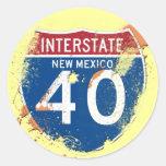 GRUNGE Y MUESTRA DE LA SALPICADURA I-40 NEW MÉXICO ETIQUETA REDONDA