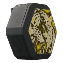 Grunge Yellow Abstract Growling Tiger Black Bluetooth Speaker