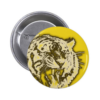 Grunge Yellow Abstract Growling Tiger Button