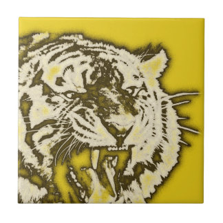 Grunge Yellow Abstract Growling Tiger Ceramic Tile