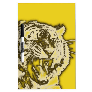 Grunge Yellow Abstract Growling Tiger Dry Erase Board