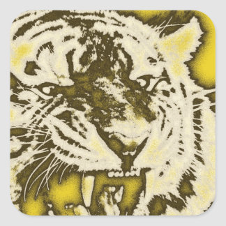 Grunge Yellow Abstract Growling Tiger Square Sticker