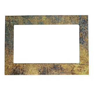 Grunge Yellow & Blue Rusted Metal Pattern Magnetic Picture Frame