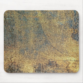 Grunge Yellow & Blue Rusted Metal Pattern Mouse Pad
