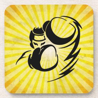 Grunge yellow Boxer Beverage Coaster