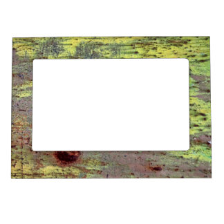 Grunge Yellow & Magenta Rusted Metal Pattern 3 Magnetic Picture Frame