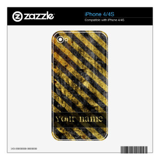Grunge yellow stripes skins for iPhone 4S