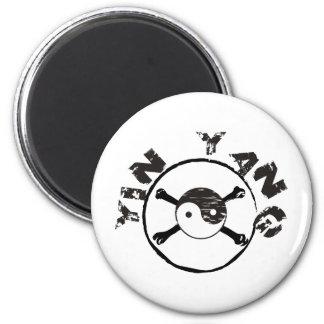 Grunge Yin Yang Imán Redondo 5 Cm