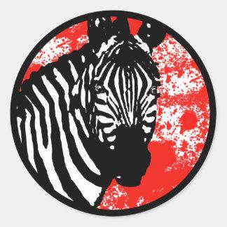 grunge zebra. classic round sticker