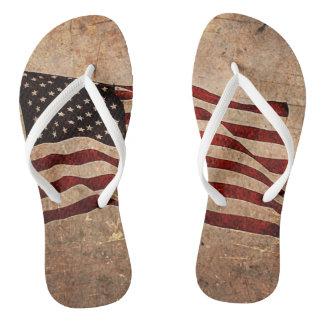 Grunged American Flag Flip Flops