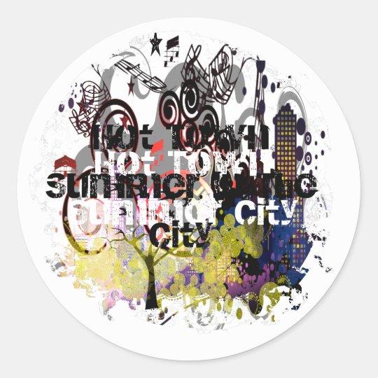 Grunged City Classic Round Sticker