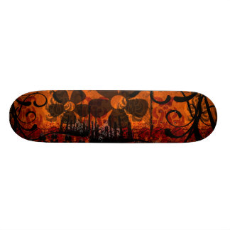 Grunged Damask - With Flowers Skateboard