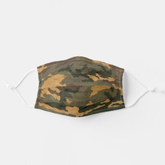 Grunged Green Camouflage Cloth Face Mask