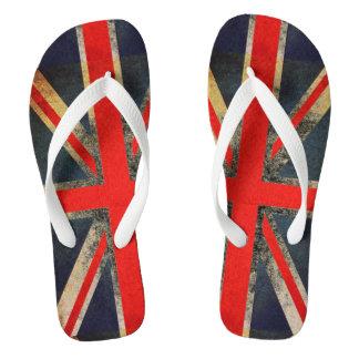 Grunged Out Union Jack UK Flag Flip Flops