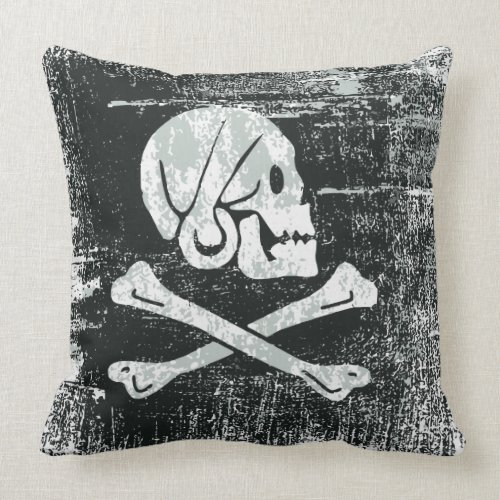 Grunged Pirate Flag Throw Pillow