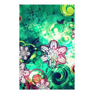 Grungel Floral on Green Background 2 Stationery