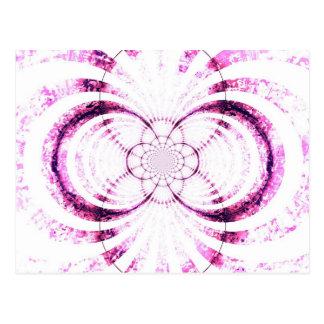 Grungey pink strip retro design post card