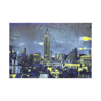 Grungified New York City Skyline #1 Gallery Wrapped Canvas