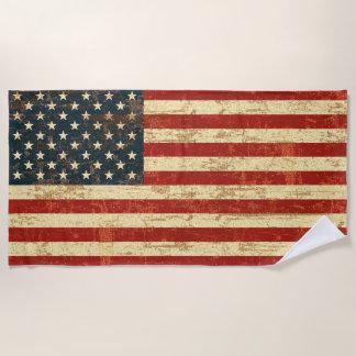 Grungy American Flag Beach Towel