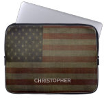 Grungy American Flag with Linen Finish and Name Computer Sleeve