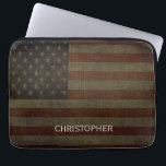"Grungy American Flag with Linen Finish and Name Computer Sleeve<br><div class=""desc"">An upscale design perfect for any male executive. A subtle,  classy design with an area to add monograms or names. You can change the type of case in the Customize it section.</div>"